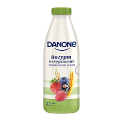 Йогурт Данон 800мл 1.5% злаки лiсовi ягоди