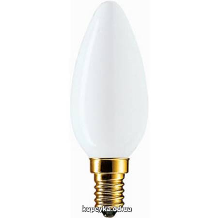 Лампочка Philips 60W свічка матова В35 Е14