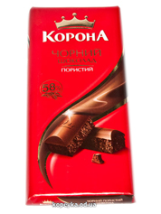 Шоколад Корона 90г чорний пористий