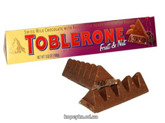 Шоколад Tobleron 100г молочний родзинки нуга