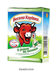 Сир пл. Веселая коровка 90г 50% зелень чеснок