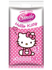 Серветки вологi Smile 15шт hello kitty