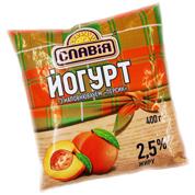 Йогурт питний Славія 400г 1.5% персик п.е