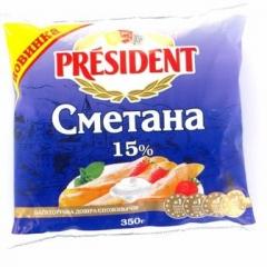 Сметана Президент 350г 15% п.е