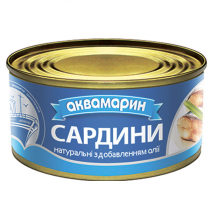 Сардина Аквамарин 185г натуральна д.масла