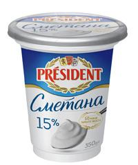 Сметана Президент 350г 15% ст