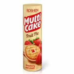 Печиво сендвіч Рошен 195г multicake полуниця крем