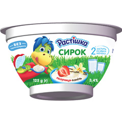 Сирок Растiшка 125г 3.4%  полуниця ванiль ст.