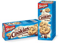 Печиво Bergen Cookies 135г з потрійним шоколадом