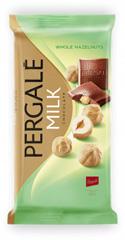 Шоколад Pergale 100гр молочний з цільним фундуком.