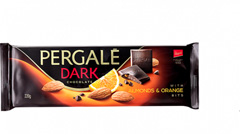 Шоколад Pergale 220гр чорний з мигдалем та апельсином.