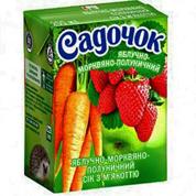 Сік Садочок 0.2л яблуко морква полуниця
