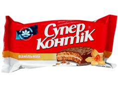 Печиво Супер Контік 100г ваніль молочна глазур