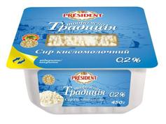 Сир кисломолочний Президент 450г 0.2% творожна традиція пл.