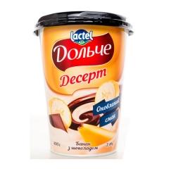 Творожный десерт Дольче Президент 400г 3,4% глазурь банан