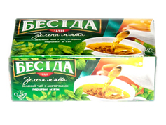 Чай Бесіда 26п зелений з листочками м`яти